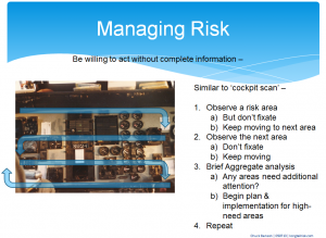 An Information Risk Management 'scan' can be similar to a cockpit scan
